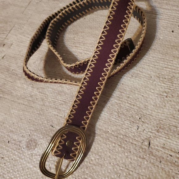 +Vintage | Burgundy Stitched Belt